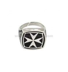 RING 17x17 MM SQUARE WITH CROSS OR AMALFI MALTA GLAZED SILVER RHODIUM 925 TIT ADJUSTABLE MEASURE 21