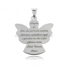 ECO ANGEL PENDANT WITH PRAYER MM 30X28 IN SILVER RHODIUM TIT 925