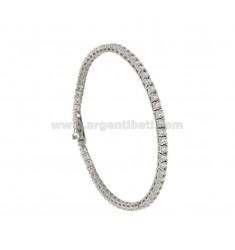 TENNIS Armband aus Silber RHODIUM 2,5 MM 925 ‰ und weiß CM 18 Zirkone