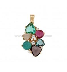 Encanto de la flor con piedras y HIDROTERMAL Zirconia COBRE TIT 925 ‰