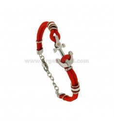 RED RED BRACELET WITH STAINLESS STEEL BUTTON AND STAINLESS STEEL BANDS WITH BRASS BUTTON