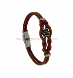 BRACELET WITH BOULE STAINLESS STEEL GRAY AND BROWN LEATHER