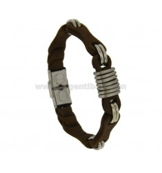 STEEL BRACELET AND BROWN LEATHER