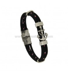 BRACELET WITH STAINLESS STEEL AND BLACK CORD 21