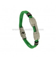 GREEN STRAP BRACELET WITH STAINLESS STEEL PLATE