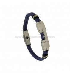 BLUE ROPE BRACELET WITH STAINLESS STEEL PLATE