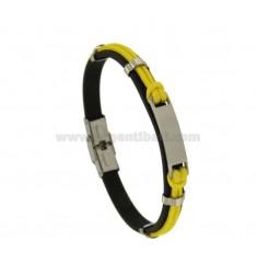 Armband Gummi '8 MM UND GELBES Seil mit Stahlplatten-CENTRAL