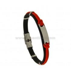 Armband Gummi '8 MM UND ROTE Seil mit Stahlplatten-CENTRAL