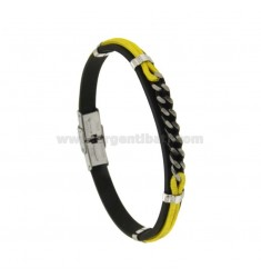 MM 8 HAIR CURTAIN BRACELET AND YELLOW CORD WITH STEEL CENTRAL GRINDER