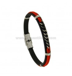 MM 8 RING BRACELET AND RED CORD WITH STEEL CENTRAL GRAY