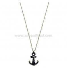PENDANT NOCH IN STAHL MIT CRYSTAL BLUE MIT CHAIN ??CABLE 50 CM