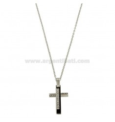 CROWN PENDANT WITH CHROME 45-50 WHITE AND ZIRCON STAINLESS STEEL CHAIN