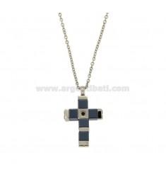 Kreuz Anhänger mit Kettenkabel CM 45-50 Stahl und Keramik ZIRCONIA