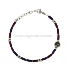 BRACELET WITH VIOLA STONES AND STAINLESS STEEL CM 21