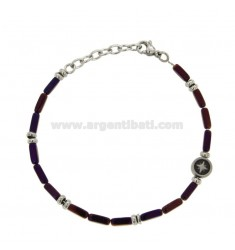 BRACELET WITH VIOLA AND ROSE STONES BRUNO STAINLESS STEEL CM 21
