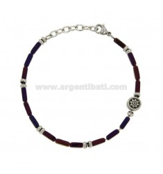BRACELET WITH VIOLET STONES AND STAINLESS STEEL CM 21