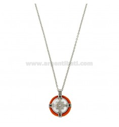 FORZATINA CM 50 NECKLACE WITH MM 18 STAINLESS STEEL PINK WITH STAINLESS STEEL VELVET ZIRCONE AND ROPE