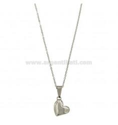 CABLE CON corazón del collar 45 CM STEEL