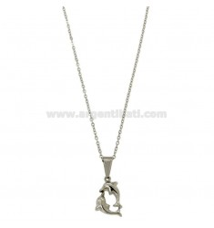 COLLAR CABLE 45 CM con delfines en STEEL