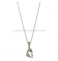 KETTE CABLE 45 cm mit Delfinen in STEEL