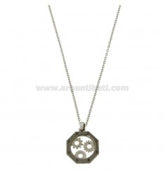 OTTAGONAL PENDANT WITH GEAR 45-50 STEEL FORZATINA CHAIN