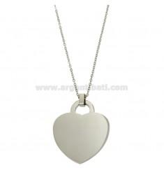 Inoxidable collar CABLE 50 CM CON corazón colgante de 38X32 MM
