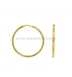 EARRINGS CANE MM 2 DIAMETER MM 30 IN SILVER GOLDEN TIT 925 ‰
