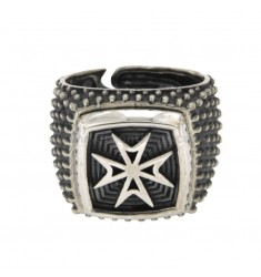 SQUARE RING WITH MALTA OR AMALFI CROSS MM 19X19 IN BRUNIC SILVER TIT 925 ADJUSTABLE MEASURE