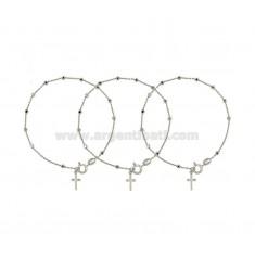 Pulsera del rosario CABLE CON bola facetada MM DE 25 CM 19 PZ 3 IN plata del rodio 925 ‰