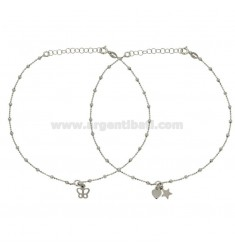 STAINLESS STEEL AND HEART PENDANT LEATHER PZ 2 IN SILVER REDUCED TIT 925 ‰ CM 23 EXTENDABLE TO 26