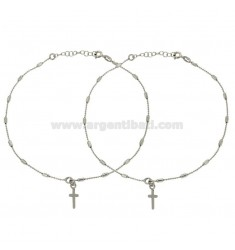 FOOTWEAR PANTS WRAPPED WITH CROSS PENDANT PZ 2 SILVER REDUCED TIT 925 ‰ CM 23 EXTENDABLE TO 26