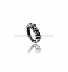 ROCK RING IN BURNISHED SILVER TIT 800 ‰ MEASURE 14