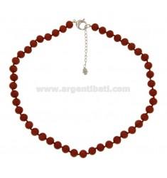 PASTA collar de coral rojo 12 MM con el cierre en plata 925 ‰ TIT CM 48 5