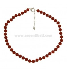 RED CORAL RIBBON NECKLACE MM 12 WITH SILVER CLOSURE TIT 925 ‰ CM 48 5