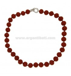 RED CORAL RED MOLDED NECKLACE MM 12 WITH SILVER CLOSURE TIT 925 ‰ AND ZIRCONI CM 49
