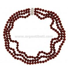 PASTA collar de coral rojo MM 10 con el cierre en plata 925 ‰ TIT CM 48
