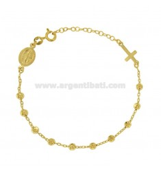 ROSARY FORZATINA BRACELET WITH BALLS FACEDED MM 4 IN SILVER GOLDEN TIT 925 ‰ CM 18-20