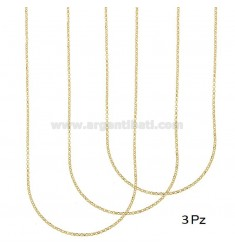 CATENA PZ 3 ROLO' DIAMANTATA MM 2 CM 45 IN ARGENTO DORATO 925‰