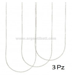CATENA PZ 3 ROLO' DIAMANTATA MM 2 CM 40 IN ARGENTO RODIATO 925‰