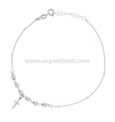 FORZATINA WATCH WITH BALLS AND CROSS PENDANT SILVER REDUCED TIT 925 ‰ CM 23 EXTENDABLE TO 26