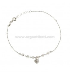 FORZATINA HANDBAG WITH BALLS AND HEART PENDANT SILVER REDUCED TIT 925 ‰ CM 23 EXTENDABLE TO 26
