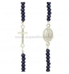 Halskette mit Steinen facettiert MADONNA UND KREUZ IN SILBER RHODIUM TIT 925 ‰ CM 45-50