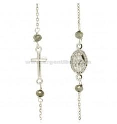Collar del rosario con cable y un TOUR 4 piedras plata del rodio TIT 925 CM 50-53
