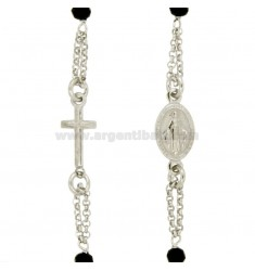 Collar del rosario de gira con TIT PIEDRAS DE COBRE 925: 45-50 CM