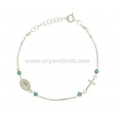 BRACELET ROSARY ROLO 'und Steine ??in Silber rhodiniert TIT 925 CM 16-19