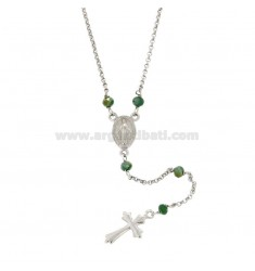 ROSARY NECKLACE WITH STAINLESS STEEL ROLE AND SILVER TIT 925 CM 45