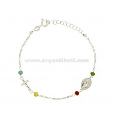 RED ROUND BRACELET WITH ROLE AND 4 STONES SILVER REDUCED TIT 925 CM 19