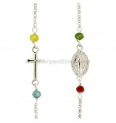 Collar del rosario con un recorrido ROLO '4 piedras y plata RHODIUM TIT 925 CM 45