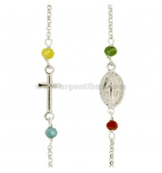 RED ROUND NECKLACE WITH ROLE AND 4 STONE SILVER REDUCED TIT 925 CM 45