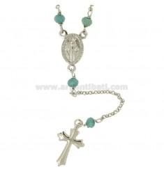 Collar del rosario CON ROLO '4 piedras y plata RHODIUM TIT 925 CM 45